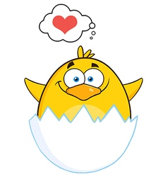 Baby Chick Cartoon Thinking About Love vector image