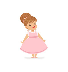 beautiful little girl posing in pink dress young vector image vector image