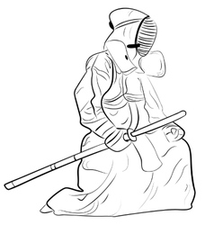 black and white sketch kendo samurai vector image vector image