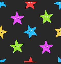 cartoon starfish seamless pattern on dark summer vector image vector image