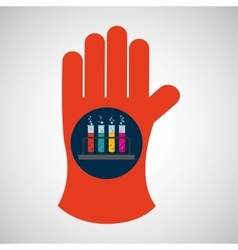 Chemical glove with test tube rack icon vector
