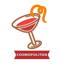cocktail cosmopolitan of contemporary classics vector image
