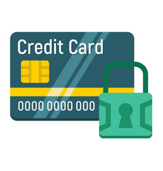 Credit card with padlock flat icon protection vector