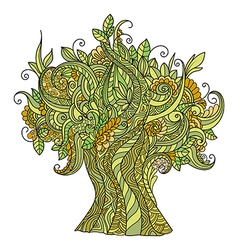 Doodle art colorful tree vector image