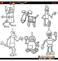 Fantasy robots cartoons coloring page vector