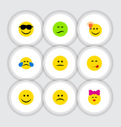 Flat icon face set of frown joy sad and other vector