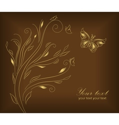 Gold wedding greeting card vector