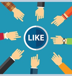 hand clike like button vector image vector image