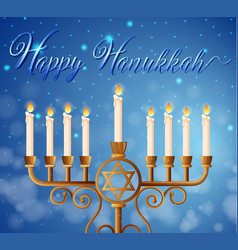 Happy hanukkah card template with candlelights vector