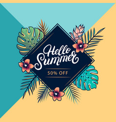 hello summer sale colorful banner vector image