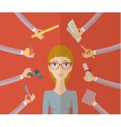 Multitasking character student vector image