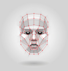 polygonal human face on light futuristic concept vector image vector image