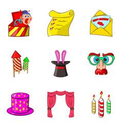 Prank icons set cartoon style vector