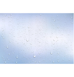 realistic water droplets on the transparent window vector image vector image