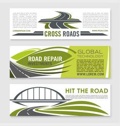 Road highway crossroad and bridge banner set vector