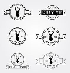 Set of badges labels hipster logo deer head vector image vector image