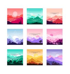 set of minimalistic flat original landscapes vector image vector image