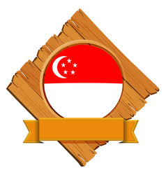 Singapore flag on wooden board vector