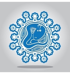 Snowflake of the Snake on the Chinese zodiac vector image