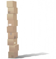 stack of shipping carton boxes vector image