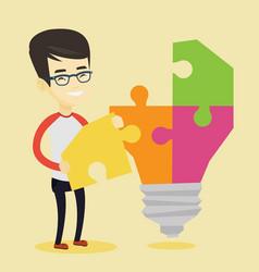 Student with idea lightbulb vector