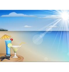 Summer beach juice and sunglasses vector