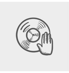 Vinyl disc with dj hand sketch icon vector image