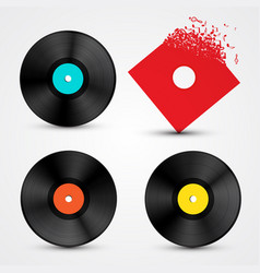 vinyl lp discs set retro music objects vector image