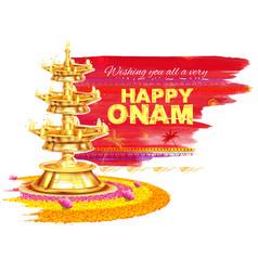 Happy Onam background with rangoli and lamp vector image