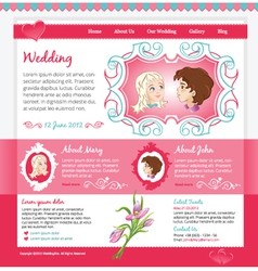 Pink wedding template vector