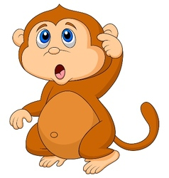Cute monkey cartoon thinking vector