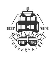 diving underwater deep water edtd 1967 logo black vector image