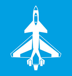 Military fighter jet icon white vector