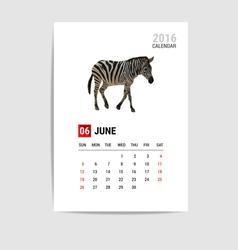 2016 june calendar zebra polygon vector