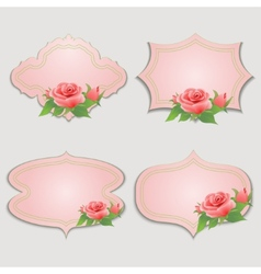 Set of vintage greeting cards with rose vector image