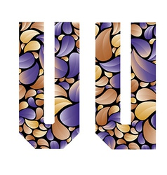 Beautiful floral alphabet letters u and v vector