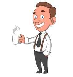 Worker with mug vector