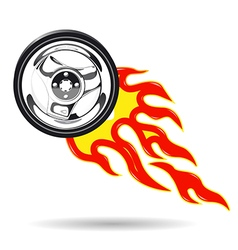 Wheel on fire vector