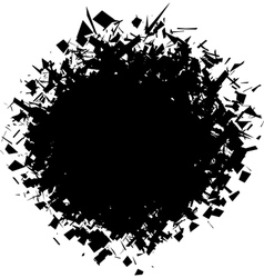 Exploded futuristic round shape in black on white vector