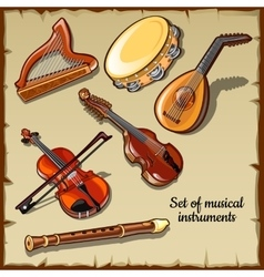 String and wind musical instruments six icons vector