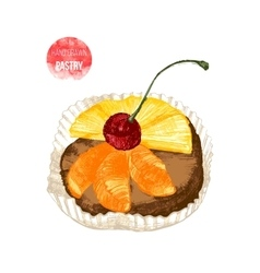 Hand drawn pastry with cherry vector