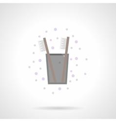 Teeth hygiene flat color icon vector