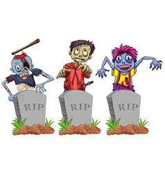 Zombies and grave stones vector