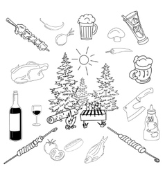 Summer barbecue backyard party doodle set vector