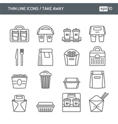 Set with thin line icons take away vector