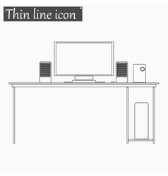 Desk table icon style thin line vector