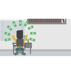 Successful businessman under money rain vector