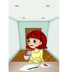 A woman inside the room drinking her coffee while vector image