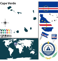 Cape verde map world vector