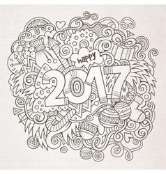 Cartoon cute doodles hand drawn 2017 year vector